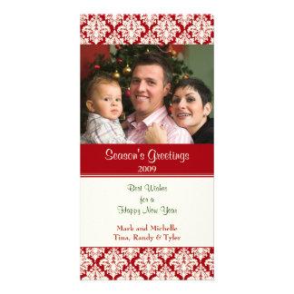 Damask Red Christmas Photo Card