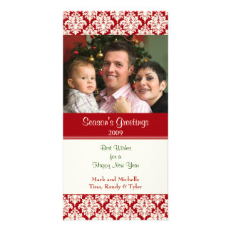 Damask Red Christmas Photo Card