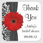 Damask Red Daisy Wedding Bridal Shower Thank You Square Sticker