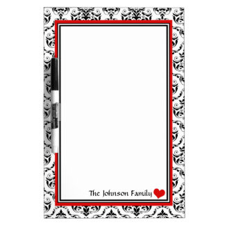 Damask Red Personalized Dry-Erase Board