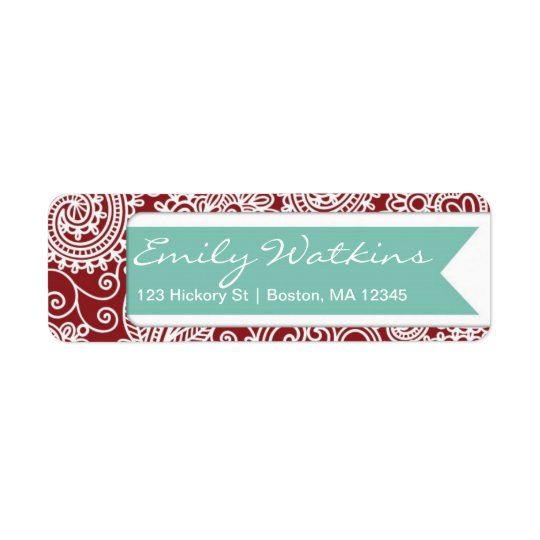 Damask Return Address Label Stationery Set