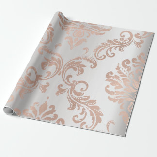 Damask Rose Gold Metallic Gray Ombre Cottage Wrapping Paper
