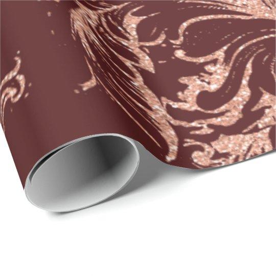 Damask Rose Gold Royal Burgundy Antonietta Cottage Wrapping Paper