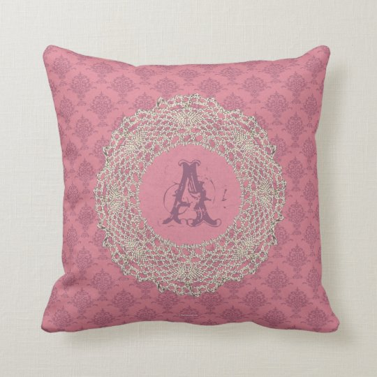 Damask Rose Pink Ecru Crochet Throw Pillow
