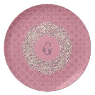 Damask Rose Pink Tone Dinner Plate