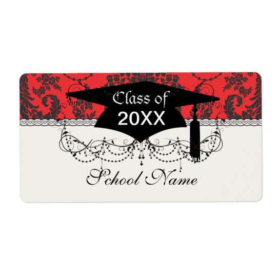 damask roses red and black graduation shipping label