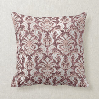Damask Royal Glitter Silver Rose Gold Red Bean Throw Pillow
