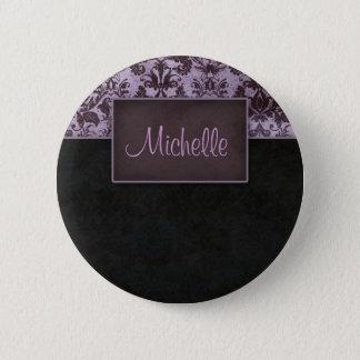 Damask Salon Spa Name Tag button pin Purple