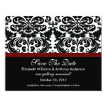 Damask Save The Date Announcement Merlot Red