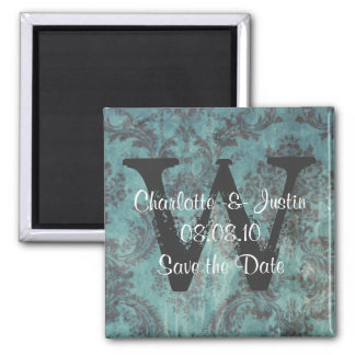 damask; save the date square magnet