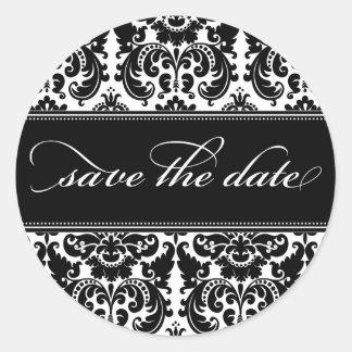Damask Save the Date Sticker