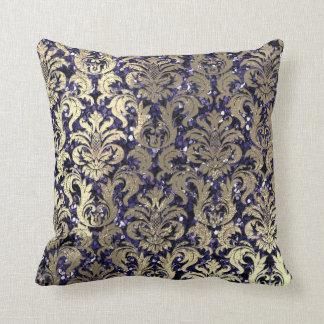 Damask Sepia Gold  Metallic Blue Navy Glitter Throw Pillow