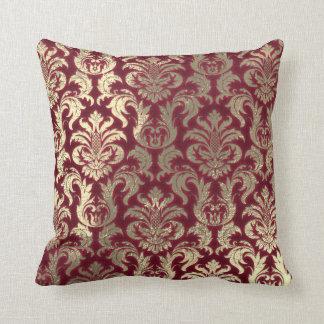 Damask Sepia Gold  Metallic Burgundy Velvet Throw Pillow