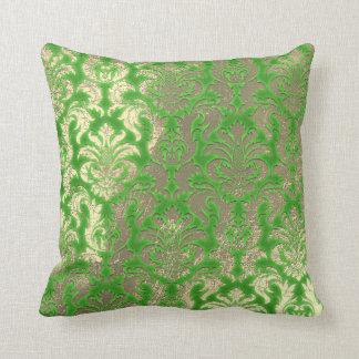 Damask Sepia Gold  Metallic Greenery Limon Throw Pillow