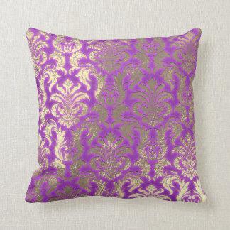 Damask Sepia Gold  Metallic Magenta Bright Pink Throw Pillow