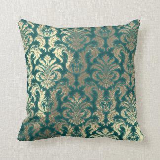 Damask Sepia Gold  Metallic Teal Velvet Effect Throw Pillow