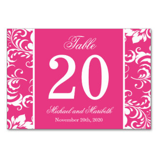 Damask Sides Table Numbers (Dark Pink / White) Table Cards