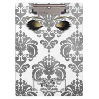 Damask Silver Gold Makeup Eyes Lashes Personalized Clipboard