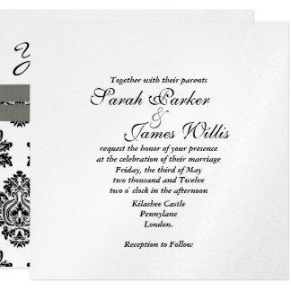 Damask Silver & Grey metallic Wedding Invite  TBA