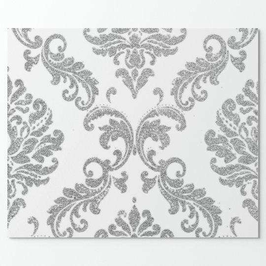 Damask Silver Grey Royal Metallic White Glitter Wrapping Paper