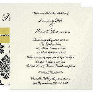 Damask Silver metallic & maize Wedding Invite