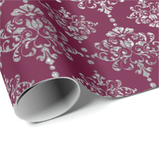 Damask Silver  Royal Metallic Burgundy Maroon Wrapping Paper