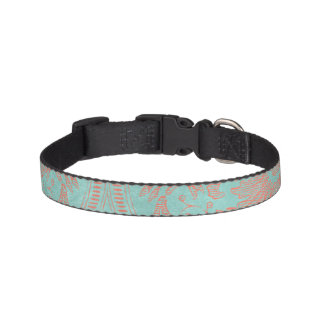 Damask Small Dog Collar Pink and Aqua