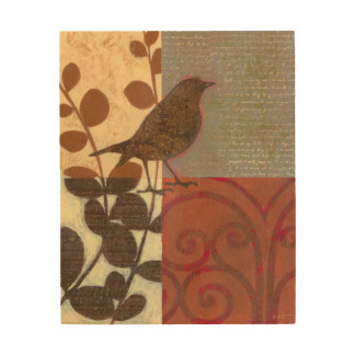 Damask Sparrow Wood Wall Decor