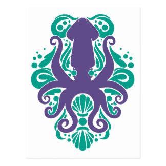 Damask Squid Ultra Violet on Arcadia Postcard