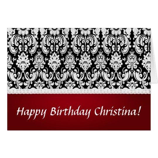 Damask style birthday card