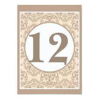 "Damask Style Table Number Card 4.5"" X 6.25"" Invitation Card"