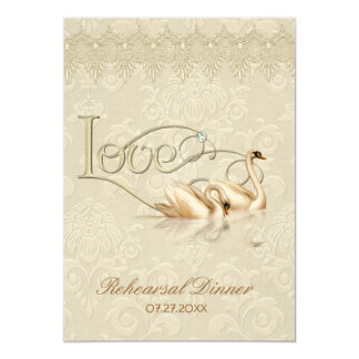 Damask Swan Elegance Ivory - Rehearsal Dinner Card