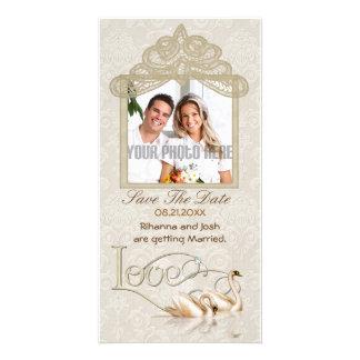 Damask Swan Elegance - Save the Date Photo Card