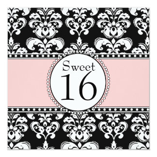 Damask Sweet 16 Birthday Invitations Pink