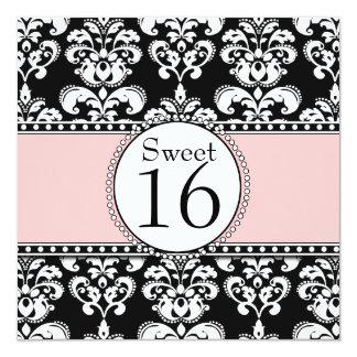 Damask Sweet 16 Birthday Invitations Pink