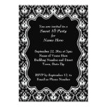 """Damask Sweet 16 in Black and White. 5"""" X 7"""" Invitation Card"""