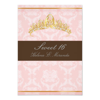 DAMASK SWEET 16/TIARA/PINK/CHOCOLATE CARD