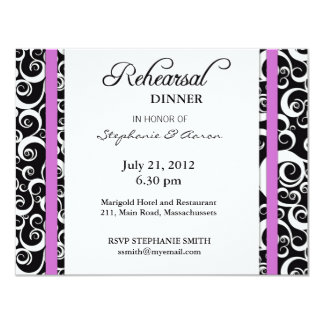 Damask Swirl Rehearsal Dinner Card in Purple