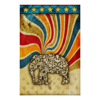 Damask Swirl Star Elephant Grunge Poster