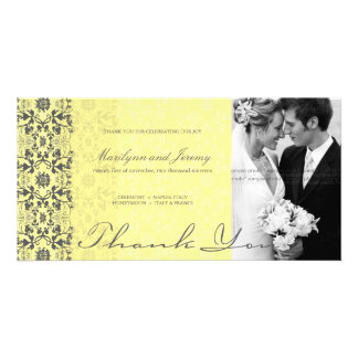 Damask Swirls Lace Butter Thank You Photo Card Picture Card