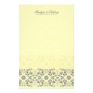 Damask Swirls Lace Butter Thank You Stationery