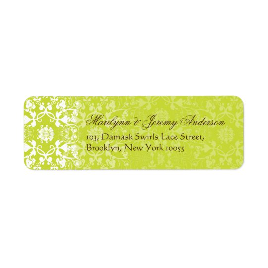 Damask Swirls Lace Lime Custom Label Return Address Label
