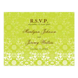 Damask Swirls Lace Lime RSVP Wedding Postcard