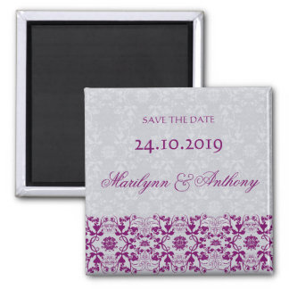 Damask Swirls Lace Orchid Save The Date Magnet