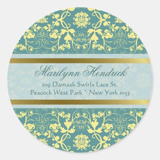 Damask Swirls Lace Peacock Address Label Sticker