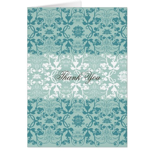Damask Swirls Vintage Chic Lace Wedding Thank You Card