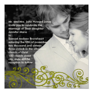 Damask Swirly Your Photo Wedding Invitation