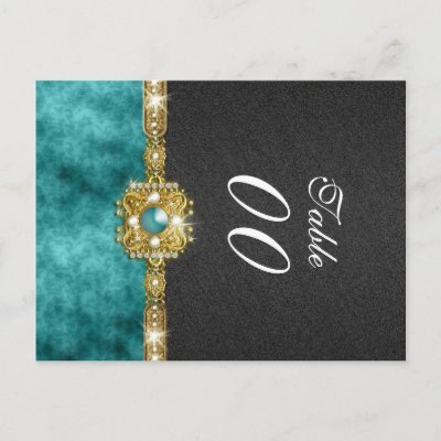 Damask table number wedding teal black postcards by mensgifts
