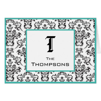 Damask Teal and Black Personalized Notecard