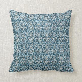 Damask Teal Blue Pattern Throw Pillow